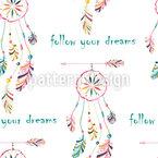 Folge Deinen Träumen Nahtloses Vektor Muster