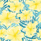 Hibiscus Flowering Period Seamless Vector Pattern Design