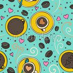 Coffee And Hearts Pattern Design