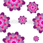 Stylized Dahlia Flower Seamless Vector Pattern Design