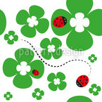 Ladybug On Shamrock Seamless Vector Pattern Design