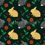 Rabbits On A Meadow Vector Pattern