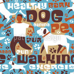 Hunde Spaziergang Nahtloses Vektormuster