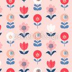 Hermosas flores retro Estampado Vectorial Sin Costura