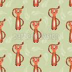 Meditating Tiger Seamless Vector Pattern Design