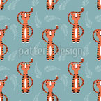 Cute Tigers Seamless Vector Pattern Design