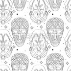 Scary Tribal Masks Seamless Vector Pattern Design