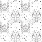 Scary Maya Masks Seamless Vector Pattern Design