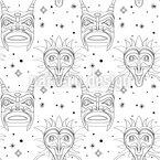 Unheimliche Maya Masken Nahtloses Vektormuster