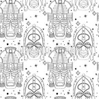 Inca Ritual Masks Seamless Vector Pattern Design