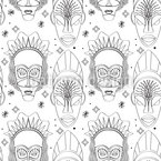African Gods Seamless Vector Pattern Design