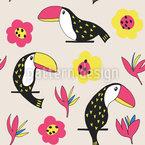 Schöne Tukane und Blüten Rapportiertes Design