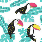 Lovely Toucans and Leaves Seamless Vector Pattern Design