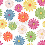 Colorful Daisies Seamless Vector Pattern Design