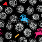 Abstract Swirls And Horses Seamless Vector Pattern Design