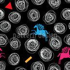 Abstrakte Wirbel und Pferde Vektor Ornament