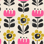 Fantasy Retro Flowers Seamless Vector Pattern Design