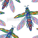 Tropische Insekten Nahtloses Vektormuster