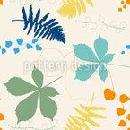Efeu und Kastanienblätter Nahtloses Vektormuster