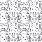 Inca Ceremony Masks Seamless Vector Pattern Design