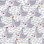 Cute Boats With Hearts Seamless Vector Pattern Design