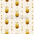 Golden Pineapples Seamless Vector Pattern Design