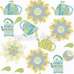 Chá por Flores Design de padrão vetorial sem costura