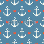 In Love With A Sailor Seamless Vector Pattern Design