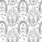 Máscaras dos Deuses Design de padrão vetorial sem costura