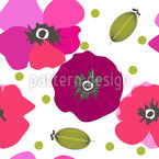 Retro Poppy Flowers Vector Design