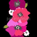 Grinalda de Flor de Papoula Retro Design de padrão vetorial sem costura