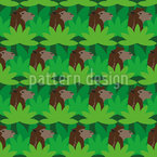 Camels in between Fan Palms Seamless Vector Pattern