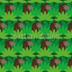 Kamele zwischen Fächerpalmen Nahtloses Vektor Muster