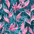 Hand Drawn Tropical Flowers Vector Pattern