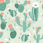 花とサボテン シームレスなベクトルパターン設計