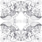Black And White Raspberry-Cat Design Pattern