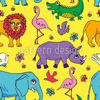 Animals of Africa  Seamless Vector Pattern Design