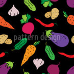 Colorful Veggies Table Seamless Pattern