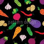 Farbenfrohe Veggies zu Tisch Nahtloses Muster