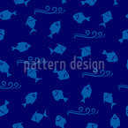 Underwater Fishes With Waves Seamless Vector Pattern