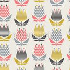 レトロファンタジー草原 シームレスなベクトルパターン設計