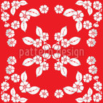 Japanese Blossoms Seamless Vector Pattern