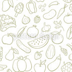 Fruits And Veggies  Seamless Vector Pattern Design