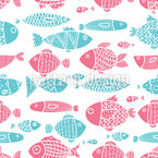 All Die Fische Im Meer Nahtloses Vektormuster
