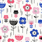 Flower Meadow in Spring Seamless Vector Pattern Design