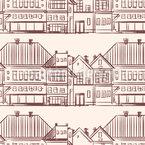Reihe von Stadthäusern Nahtloses Vektormuster