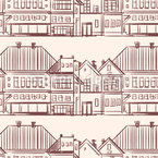 Row of Town Houses Estampado Vectorial Sin Costura