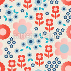 Halftone Flowers Seamless Vector Pattern Design