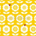 Retro Blumen Mit Marienkäfern Vektor Ornament