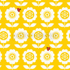 Retro Flowers With Ladybugs Vector Ornament